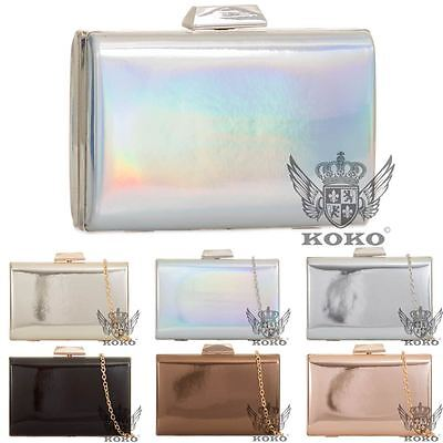 New Ladies Hardcase Box Holographic Patent Chain Strap Evening Clutch Handbag