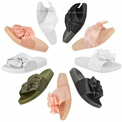 Womens Ladies Comfy Bow Knot Sliders Flats Satin Casual Slippers Shoes New Size