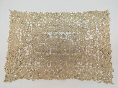 Antique Lace Placemat Table Doily Tray Cloth Reticella Needlelace Flowers Acorns