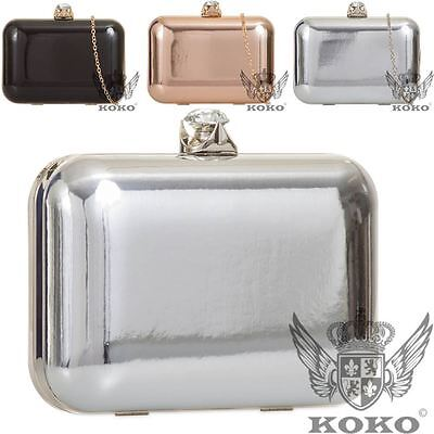 Ladie Womens Patent Leather Hardcase Jewel Detail Chain Party Clutch Bag