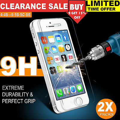 2X Tempered Glass Screen Protector Clear Anti Scratch for iPhone 5 5C SE 4 6 7 8