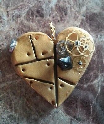 Steampunk Victorian Cosplay Heart Necklace Pendant Gear Handmade