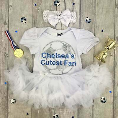 BABY GIRL CHELSEA'S cutest fan FOOTBALL OUTFIT Daddy's Princess Love Newborn