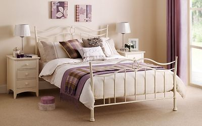 New Stunning Katrina Stone White Metal Bed Frame in 4'6 Double & 5'0 King Size