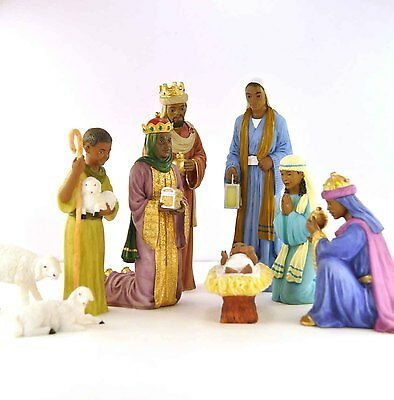 9 Piece Nativity Set: African American NEW (19009) 6.5 Inches Tall