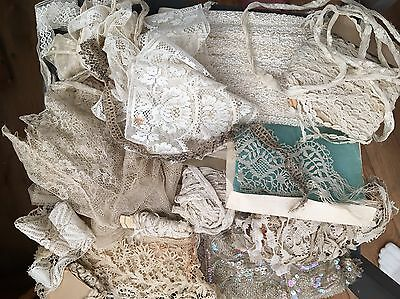 Mixed Lot Of Antique White Lace And Trims Including Beading.