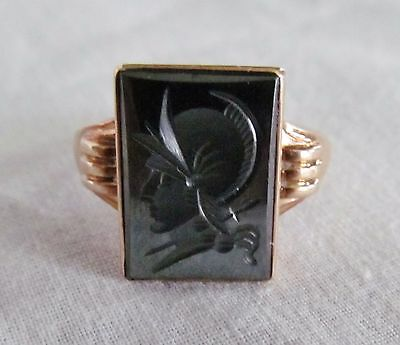 Antique Intaglio Hematite Cameo Art Deco Greek Roman Soldier 10K Gold Ring