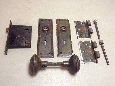 Vintage Antique Lot Of Door Hardwear Knob Plates Hinges Lock Pins Metal Set