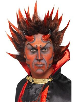 Adult Unisex Devil Punky Wig, Red And Black Halloween Smiffys Costume Accessory