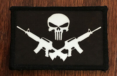 Punisher Assault Rifle Pirate Flag Morale Patch Tactical Military Army USA Badge
