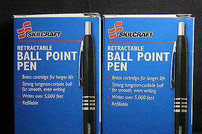 Skilcraft U.S. Government Retractable Ballpoint Pen Fine Point, Black Ink 2 DZ.