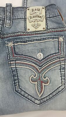 HOT ROCK REVIVAL  JEANS SIZE 34 x 32  THICK STITCH STRAIGHT  KOLBY