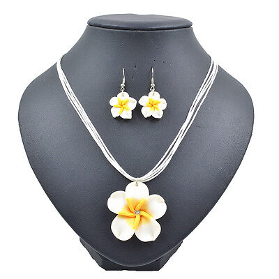 White Lovely Girl&Lady Frangipani  Yellow Flower Necklace Earrings Jewelry Sets