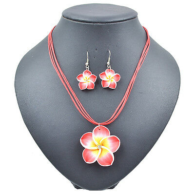Red Lovely Girl&Lady Frangipani  Yellow Flower Necklace Earrings Jewelry Sets