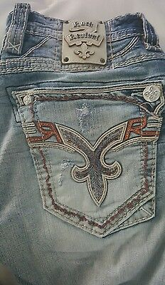 HOT ROCK REVIVAL  JEANS SIZE 34 x 32  THICK STITCH  SLIM  STRAIGHT  CRESTON