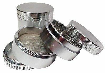 "Herb Grinder Crusher for Tobacco Smoke 4 Piece 2"" Metal Hand Muller Spice Silver"