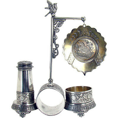 Silver Plated Victorian Napkin Ring and Condiment Holder - 1890