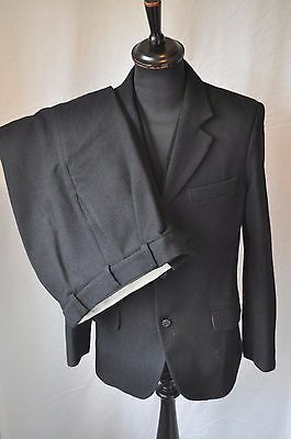 "Vintage black heavy wool single breasted 3 piece suit chest 38"" W 32"" Scotland"