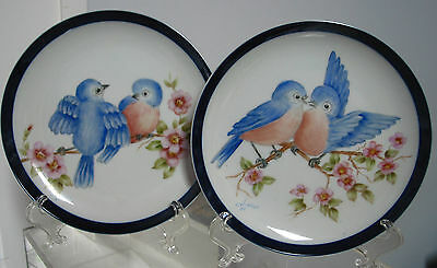 """pair of Vintage('85) Hand Painted Plates """"Birds in Love"""" ,Artist signed,6 3/8"""""""