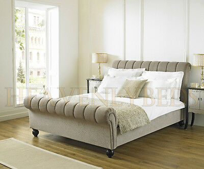Sleigh Scroll Upholstered Bed Frame Chenille Velvet Fabric 4'6 Double Super King