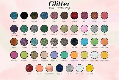 "GLITTER Heat Transfer Vinyl for Silhouette Cameo, Cricut 10"" x 5yd Color Theory"