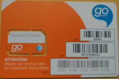New At&t Sim Card 3G/4G Prepaid Go Phone 3G Ready To Activate