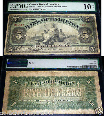 Bank of Hamilton $5, 1909 . CANADA CHARTERED BANKNOTE