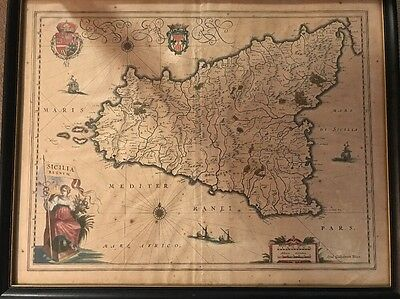 Antique SICILIA REGNUM Kingdom of Sicily Willem Blaeu Original 1635 Map Vintage