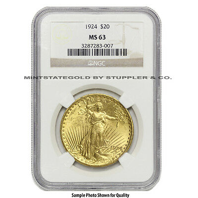 $20 Saint Gaudens NGC MS63 Random Year Choice certified Gold Double Eagle coin