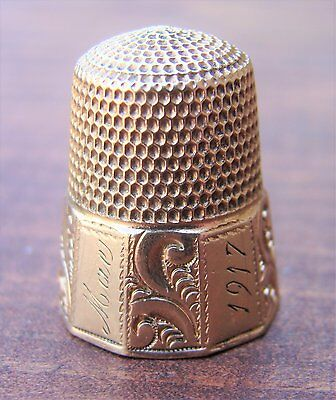Vintage/Antique Simons Bros. 100 Year Old Gold Filled Thimble Size 10 1917