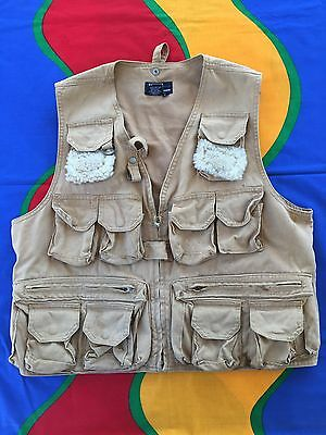 VINTAGE POLO RALPH LAUREN VEST CANVAS HUNTING FISHING SPORT JACKET RARE 80s 90s