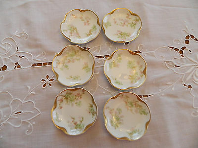 Haviland & Co. Limoges China Schl #45-2 (6) Butter Pats Gold Trim and Daubs 6-2