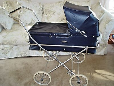 Saks Fifth Avenue Vintage 1950s Blue & White Pram Perambulator - Great Condition