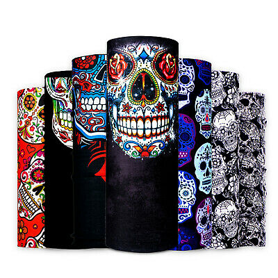 Sugar Skull Biker Bandana Neck Tube Warmer Snood Scarf Face Mask Wrap Balaclava