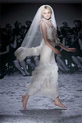 New Lanvin Ostrich Feather-trimmed Tulle Bridal Veil