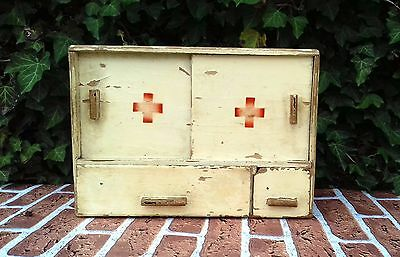 Antique Rare Wooden Medicine Apothecary Wall Cabinet Chest Cupboard