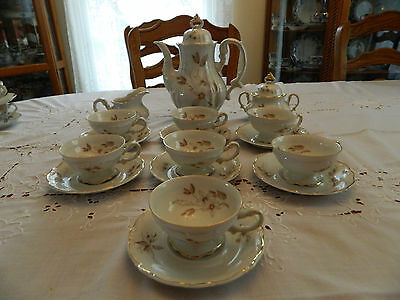 Forest China Bavaria Brown Orchid Coffee/Tea Set for (7) 10-1