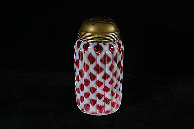 Eapg Northwood Glass Cranberry Opalescent Ribbed Opal Lattice Sugar Shaker