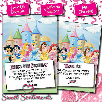 Personalised Disney Princesses Kids Birthday Party Invitations