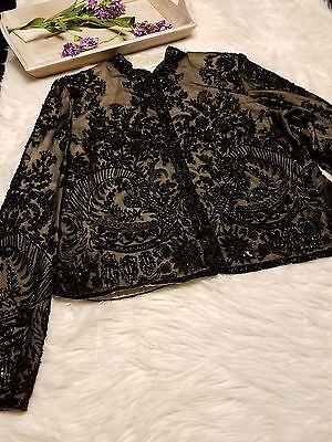 Adrianna Papell Women's Evening Jacket Beaded Floral Lined Black Cream Size XL