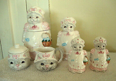Vtg Lot CAT Ceramic Kitchenware~Candy Jar/Spoon Holder/Sugar/Creamer/S&P~Easter