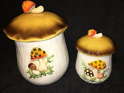 SEARS ROBUCK & CO  1978 (2) Vintage Mushroom Kitchen Canisters