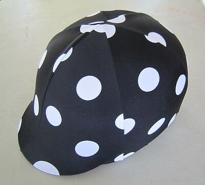 Horse Helmet Cover ALL AUSTRALIAN MADE Black with white dots Any size you need