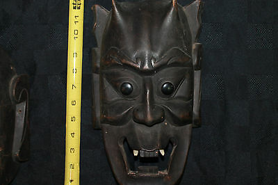 Authentic Mask Spirit Hand Painted Carved Wood Art Japanese Folk Satan