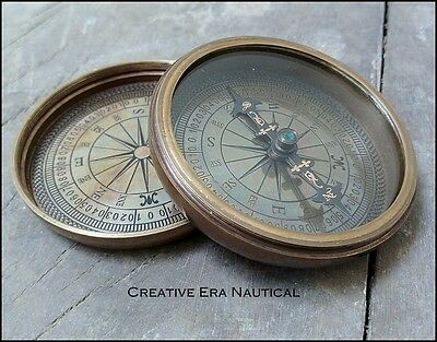 Nautical Solid Brass Working Pocket Compass Vintage Maritime Marine Collectible