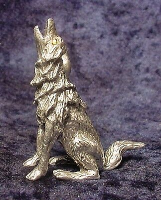 Pewter Howling WOLF with Crystal Eyes