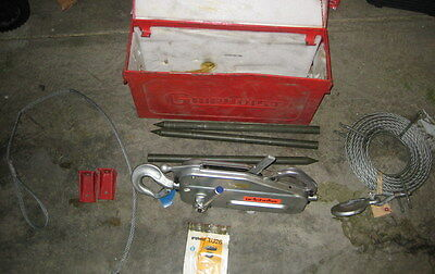 TU-28 Tractel Griphoist TIRFOR  hoist lift system with 60' cable & steel case