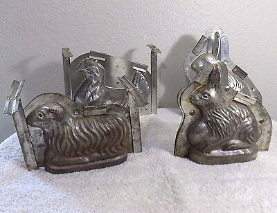 lot 4 VINTAGE Chocolate Jelly Cake MOLD Easter Lamb Bunny Rabbit Chicken GERMANY