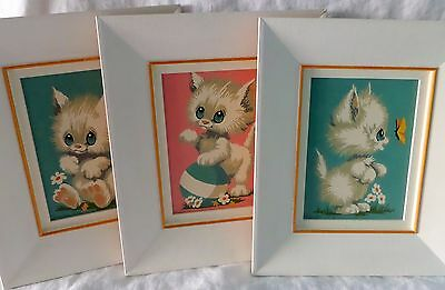 Set of 3 Retro Completed Paint By Number Cats 1974 Textured Wood Frames 11 x 13