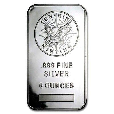 5 Troy Ounce .999 Fine Silver Sunshine Minting Bar Bu + 99.9% 24K Gold $100 Bill